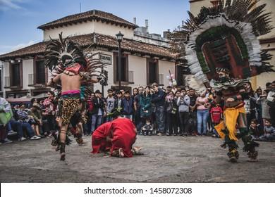 San Cristobal de las Casas, Chiapas / Mexico - 21/07/2019:  Detail of traditional prehispanic dance in the streets of San Cristobal de las Casas Mexico