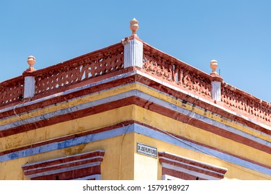 San Cristobal de las Casas, Chiapas, Mexico - March 23, 2017: Brightly painted colonial house detail in the small mexican town of San Cristobal de las Casas.