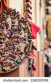 San Cristobal de las Casas, Chiapas, Mexico - March 23, 2017: Colorful hand-made souvenirs in a local shop in San Cristobal de las Casas.