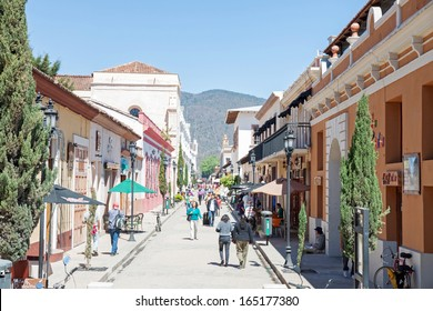 SAN CRISTOBAL DE LAS CASAS, CHIAPAS, MEXICO - FEBRUARY 7, 2013: It is a town  located in the Mexican state of Chiapas. The city's center maintains its Spanish colonial layout and its architecture.