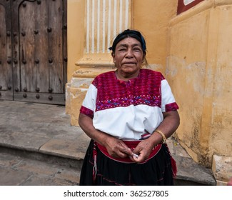 San Cristobal de las Casas, Chiapas, Mexico. OCT 23, 2012: Portrait of an unknown indigenous Mexican women. The woman is wearing a huipil, a traditional garment worn by in the Chiapas Region.
