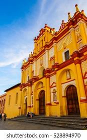 SAN CRISTOBAL DE LAS CASAS, MEXICO - NOV 1, 2016: Catholic church in San Cristobal de las Casas, town located in the Central Highlands region of the  state of Chiapas, Mexico