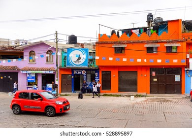 SAN CRISTOBAL DE LAS CASAS, MEXICO - NOV 1, 2016: Colorful architecture of San Cristobal de las Casas, town located in the Central Highlands region of the  state of Chiapas, Mexico