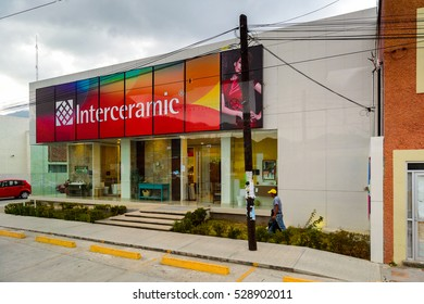 SAN CRISTOBAL DE LAS CASAS, MEXICO - NOV 1, 2016: Interceramic building in  San Cristobal de las Casas, town located in the Central Highlands region of the  state of Chiapas, Mexico