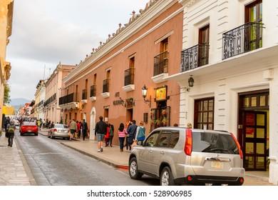 SAN CRISTOBAL DE LAS CASAS, MEXICO - NOV 1, 2016: Architecture of San Cristobal de las Casas, town located in the Central Highlands region of the  state of Chiapas, Mexico