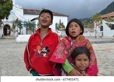 San cristobal de las casas, chiapas, Mexico, July 9, 2017.  Idigenous mexican children outside  the central church of the town
