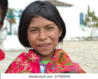 San Cristobal de las casas, Chiapas, Mexico, July 9, 2017. indigenous mexican girl