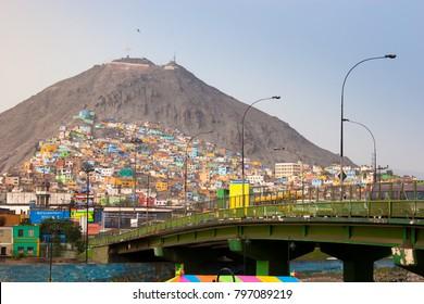San Cristobal hill in Rimac district, Lima, Peru.