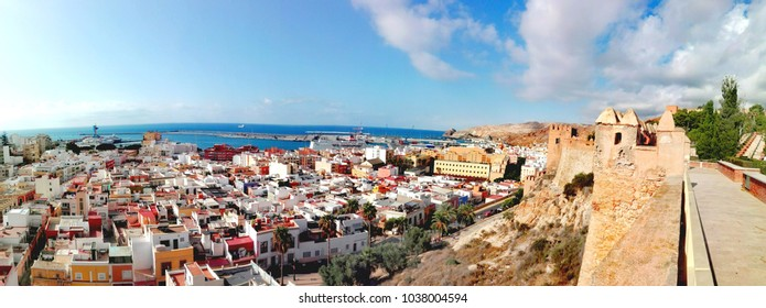 San Cristobal hill, view from Alcazaba of Almeria city, fortress walls, Andalusia, Spain