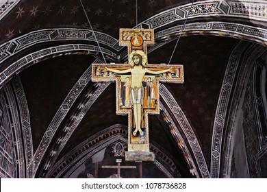 The San Damiano Cross hangs in the Basilica of St. Clare of Assisi in Italy - OCT. 2014