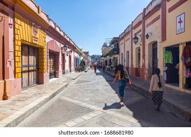 San Cristóbal de las Casas, Chiapas/Mexico; March 6th 2020: Detail of the streets of San Cristobal de las Casas