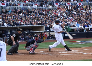 SAN DIEGO - APRIL 11: Blanks at bat for the Padres during the home opener at PetCo Park April 11, 2010 in San Diego, CA