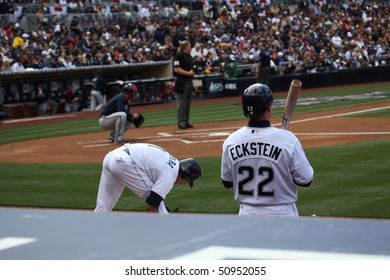 SAN DIEGO - APRIL 11: On Deck for the first at bat for the Padres during their home opener at PetCo Park April 11, 2010 in San Diego, CA