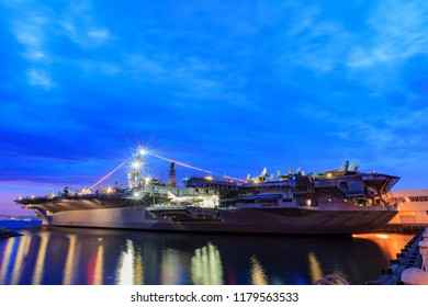 San Diego, AUG 2: Night view of the famous USS Midway Museum on AUG 2, 2014 at San Diego, California