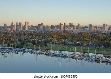 San Diego Bay with Coronado Island. San Diego California with Coronado Island in Foreground, showing a beautiful skyline.