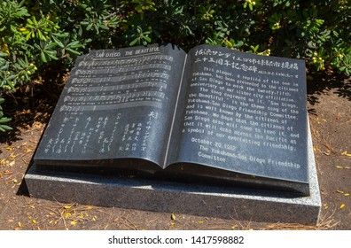 """San Diego The Beautiful"" Plaque in the Japanese Friendship Garden, Balboa Park, San Diego, California, USA. September 24th 2016"