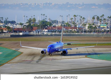 SAN DIEGO, CA -3 JAN 2020- View of a Boeing 737-800 airplane from Southwest Airlines (WN)  getting ready for takeoff the San Diego International Airport (SAN),  formerly known as Lindbergh Field.