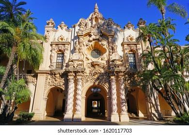 SAN DIEGO, CA -5 JAN 2020- View of the historic Casa de Balboa building in Balboa Park in San Diego, California.