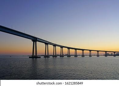 SAN DIEGO, CA -5 JAN 2020- View of the San Diego Coronado Bridge, a landmark concrete steel girder bridge over the San Diego Bay in California, United States.