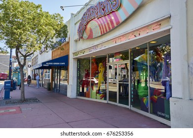 SAN DIEGO, CA - JULY 12 2017: Hillcrest and its businesses are getting ready for LGBT Pride Festival and Parade with flags and decorations