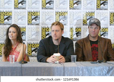 """SAN DIEGO, CA - JULY 13: Summer Glau, Alan Tudyk and Adam Baldwin  attend a press conference for """"Firefly"""" at the 2012 Comic Con  convention press room on July 13, 2012 in San Diego, CA."""