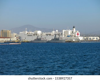 San Diego, CA - July 2 2019:Naval hospital ship Mercy docs in San Diego Naval Station.Mercy contains 1,000 bed hospital facility,laboratories and radiological services.Two other warship protects Mercy