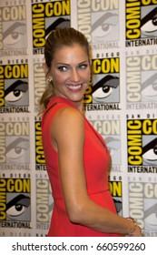 San Diego, CA - July 23, 2016: Tricia Helfer of FOX's Lucifer arrives at Comic Con 2016 in San Diego, CA.