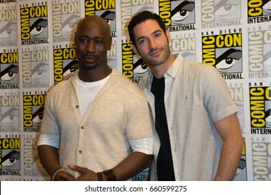 San Diego, CA - July 23, 2016: Tom Ellis and D.B. Woodside of FOX's Lucifer arrives at Comic Con 2016 in San Diego, CA.