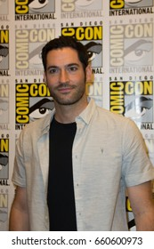 San Diego, CA - July 23, 2016: Tom Ellis of FOX's Lucifer arrives at Comic Con 2016 in San Diego, CA.