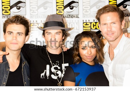 San Diego, CA - July 26 2014:  Paul Wesley, Ian Somerhalder, Kat Graham, and  Matthew Davis of The CW's Vampire Diaries arrives at Comic Con 2014 in San Diego, CA.