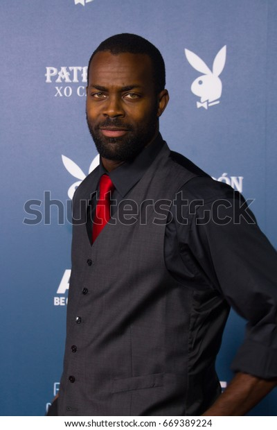 San Diego, CA - July 26, 2014:  Damion Poitier of the HBO's True Blood arrives at A&E / Playboy event at Comic Con 2014 in San Diego, CA.