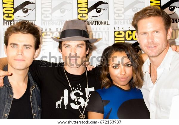 San Diego, CA - July 26 2014:  Paul Wesley, Ian Somerhalder, Kat Graham, and  Matthew Davis of The CW's Vampire Diaries arrives at Comic Con 2014 in San Diego, CA.