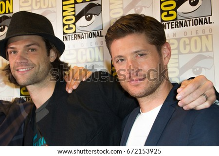 San Diego, CA - July 27 2014:  Jared Padalecki and Jensen Ackles of The CWs Supernatural arrives at Comic Con 2014 in San Diego, CA.