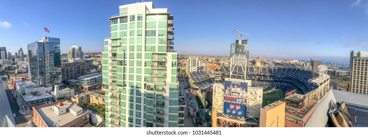 SAN DIEGO, CA - JULY 30, 2017: Tourists on a rooftop enjoy city view near Petco Park. San Diego attracts 20 million tourists annually.