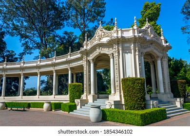 SAN DIEGO, CA - MAY 26, 2014: The colonnade in Balboa Park with columns, built for the 1915 Panama-California Exposition.