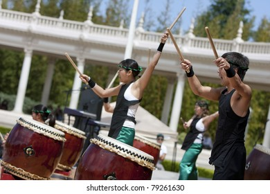 SAN DIEGO, CA - MAY 28:  Naruwan Taiko performs at the 75th  Anniversary Celebration of the International Cottages on May 28, 2011 in Balboa Park, San Diego, CA.