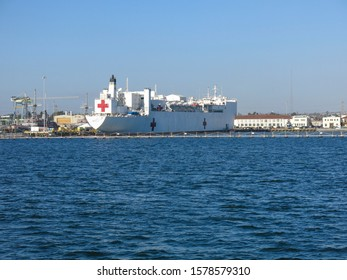 San Diego, CA - November 6 2019: Naval hospital ship Mercy docs in San Diego Naval Station.Mercy contains 1,000 bed hospital facility,laboratories and radio logical services.