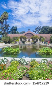 SAN DIEGO , CA - SEP 01 : The Botanical Building in San Diego's Balboa Park on September 01 2013 ,  The building was built in 1915 for the Panama-California Exposition.
