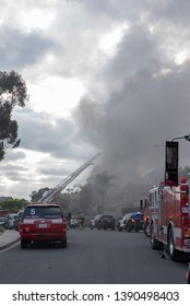 San Diego, CA / US - 05/05/2019 - Firefighters tame a two-story house fire in Mira Mesa. Neighbors reported an explosion before flames engulfed the house and smoke filled the streets.