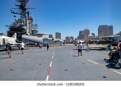 San Diego, CA / USA - 09/14/2018: Combat Aircraft Aboard the USS Midway