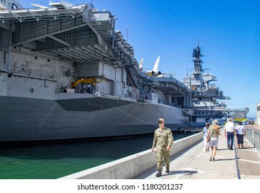 San Diego, CA / USA - 09/14/2018: A View of the USS Midway