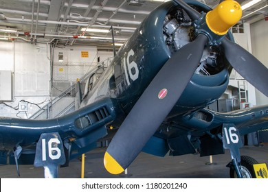 San Diego, CA / USA - 09/14/2018: A Corsair Fighter Below Deck Aboard the USS Midway