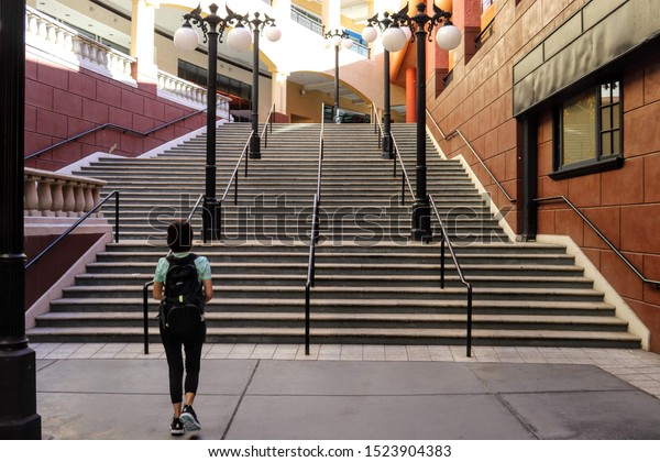 San Diego, CA USA  10-6-19    Empty and vacant stores at the Horton Plaza Mall at downtown San Diego's Gaslamp District.  The mall is being renovated into a tech center.