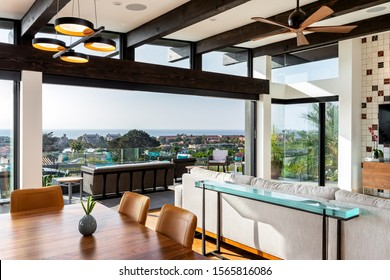San Diego, CA / USA - 11/7/2018: Modern living space with sliding door system to outside living space