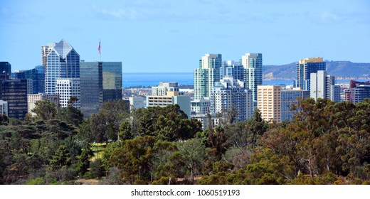 SAN DIEGO CA USA APRIL 6 2015: Downtown San Diego the eighth largest city in the United States, downtown San Diego serves as the cultural, financial center and central business.