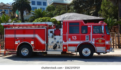 SAN DIEGO CA USA APRIL 7 2015:  San Diego Fire-Rescue Department (SDFD) provides fire protection and emergency medical services to the city of San Diego, California, United States.