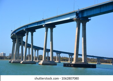 SAN DIEGO CA USA APRIL 7 2015: San Diego–Coronado Bridge, locally referred to as the Coronado Bridge, is a prestressed concrete/steel girder bridge, crossing over San Diego Bay