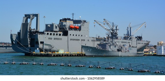 SAN DIEGO CA USA APRIL 09 2015: USNS Bob Hope (T-AKR-300) the lead ship of her class of vehicle cargo ships for Army vehicle prepositioning, is the only naval ship of the US to be named after Bob Hope
