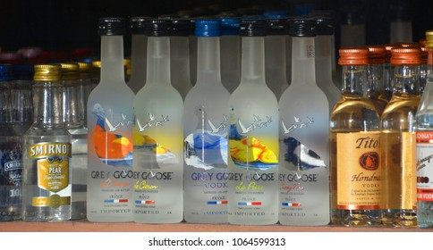 SAN DIEGO CA USA APRIL 08 2015: Grey Goose is a brand of vodka produced in France. It was created in the 1990s by Sidney Frank, who sold it in 2004 to Bacardi.