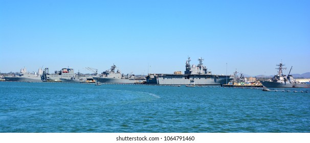 SAN DIEGO CA USA APRIL 09 2015: Naval Base San Diego, which locals refer to as 32nd Street Naval Station, is the largest base of the United States Navy and is located in San Diego